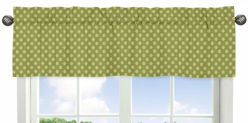 Green Tonal Polka Dot Window Valance for Forest Friends Collection - Click to enlarge