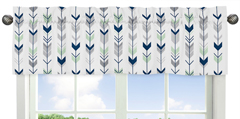 Window Valance for Grey, Navy Blue and Mint Woodland Arrow�Collection by Sweet Jojo Designs