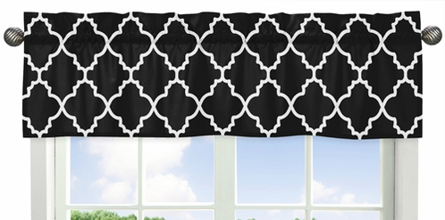 Window Valance for Red and Black Trellis Collection by Sweet Jojo Designs - Click to enlarge