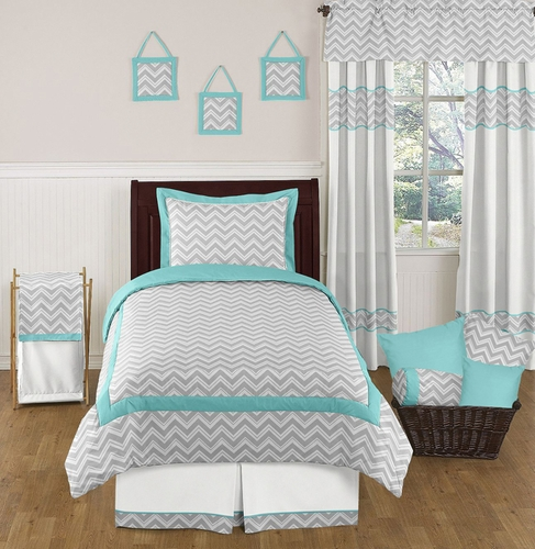 Turquoise And Gray Chevron Zig Zag Childrens And Kids Bedding Set   4 Pc  Twin Set