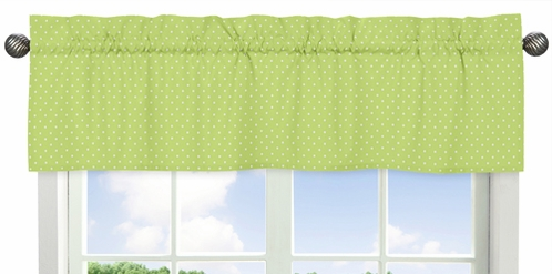 Polka Dot Window Valance for Turquoise and Lime Hooty Owl Collection by Sweet Jojo Designs - Click to enlarge