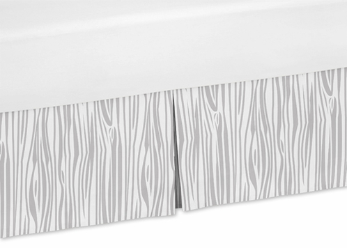 Wood Grain Print Queen Bed Skirt for Grey and White Woodland Deer Bedding Sets - Click to enlarge