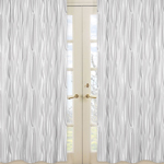 Wood Grain Print Window Treatment Panels for Navy and White Woodland Deer Collection by Sweet Jojo Designs - Set of 2