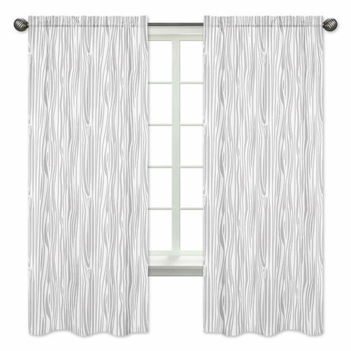 Wood Grain Window Treatment Panels for Grey and White Woodland Deer Collection - Set of 2 - Click to enlarge
