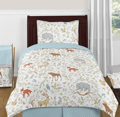 Woodland Animal Toile 4pc Twin Boy or Girl Bedding Set by Sweet Jojo Designs - Click to enlarge