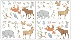 Woodland Animal Toile Baby and Kids Wall Decal Stickers by Sweet Jojo Designs - Set of 4 Sheets