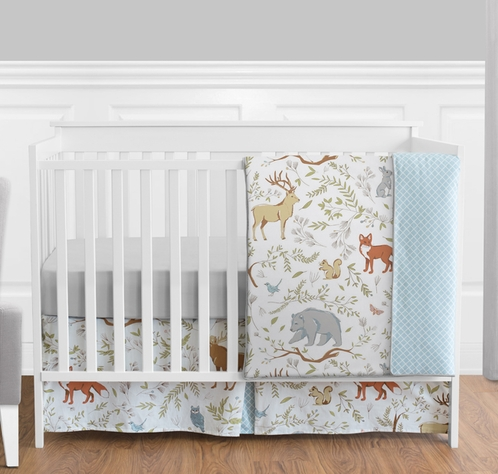 Woodland Animal Toile Baby Boy or Girl Bedding - 4pc Crib Set by Sweet Jojo Designs - Click to enlarge