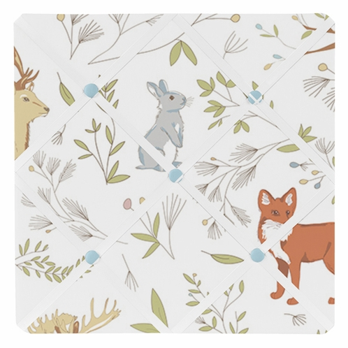 Woodland Animal Toile Fabric Memory/Memo Photo Bulletin Board by Sweet Jojo Designs - Click to enlarge