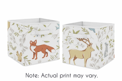 Woodland Animal Toile Foldable Fabric Storage Cube Bins Boxes Organizer  Toys Kids Baby Childrens For Collection