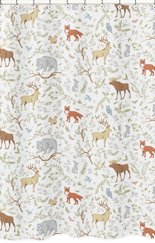 Woodland Animal Toile Kids Bathroom Fabric Bath Shower Curtain by Sweet Jojo Designs - Click to enlarge