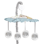 Woodland Animal Toile Musical Baby Crib Mobile by Sweet Jojo Designs