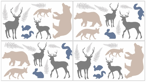 Woodland Animals Baby, Childrens and Kids Wall Decal Stickers by Sweet Jojo Designs - Set of 4 Sheets - Click to enlarge