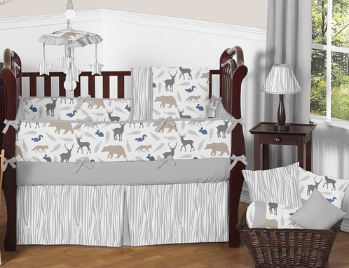 Woodland Animals Baby Bedding - 9pc Crib Set by Sweet Jojo Designs - Click to enlarge