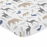 Grey and Blue Baby Toddler Fitted Mini Portable Crib Sheet for Woodland Animals Collection by Sweet Jojo Designs