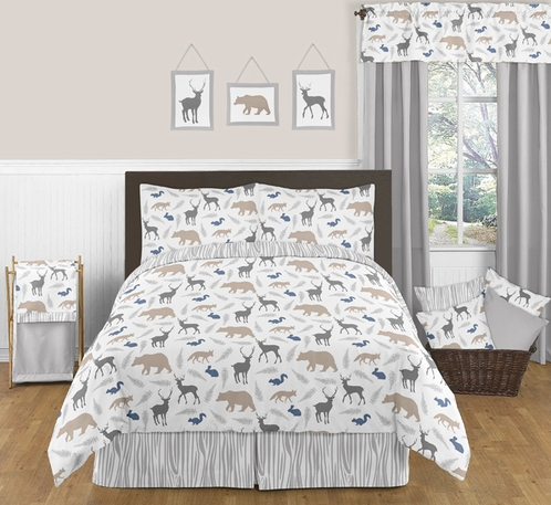 Woodland Animals 3pc Boys Full / Queen Bedding Set by Sweet Jojo Designs - Click to enlarge