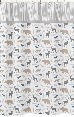Woodland Animals Kids Bathroom Fabric Bath Shower Curtain - Click to enlarge