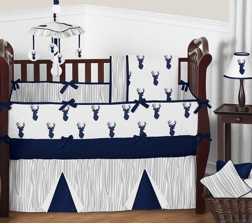 Navy and White Woodland Deer Baby Bedding - 9pc Boys Crib Set by Sweet Jojo Designs - Click to enlarge