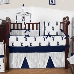 Navy And White Woodland Deer Baby Bedding 9pc Boys Crib Set By Sweet Jojo Designs