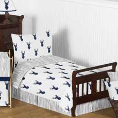 Navy and White Woodland Deer Boys Toddler Bedding - 5pc Set by Sweet Jojo Designs