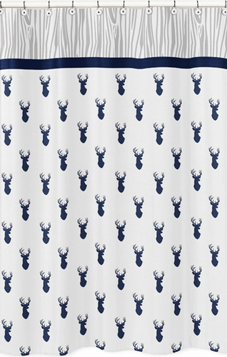 Navy and White Woodland Deer Kids Bathroom Fabric Bath Shower Curtain by Sweet Jojo Designs - Click to enlarge