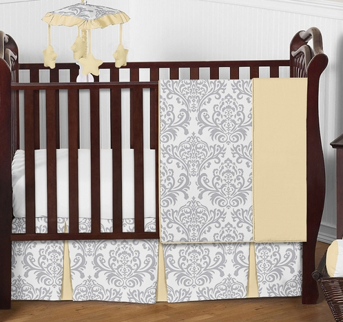 Yellow and Gray Avery Baby Bedding - 4pc Crib Set by Sweet Jojo Designs - Click to enlarge