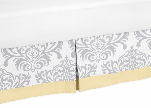 Yellow and Gray Avery Bed Skirt for Toddler Bedding Sets by Sweet Jojo Designs - Click to enlarge