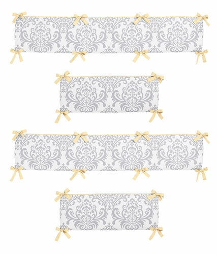 Yellow and Gray Avery Collection Crib Bumper by Sweet Jojo Designs - Click to enlarge