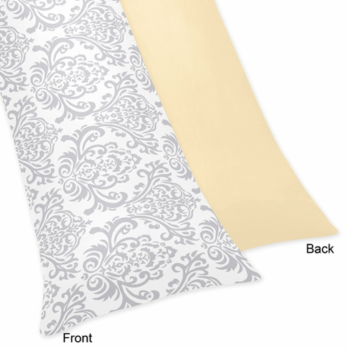 Yellow and Gray Avery Full Length Double Zippered Body Pillow Case Cover by Sweet Jojo Designs - Click to enlarge