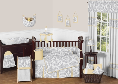 Yellow and Gray Avery Baby Bedding - 9pc Crib Set by Sweet Jojo Designs - Click to enlarge