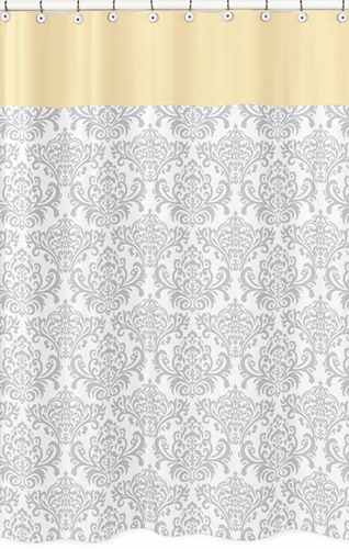 Yellow and Gray Avery Kids Bathroom Fabric Bath Shower Curtain by Sweet Jojo Designs - Click to enlarge
