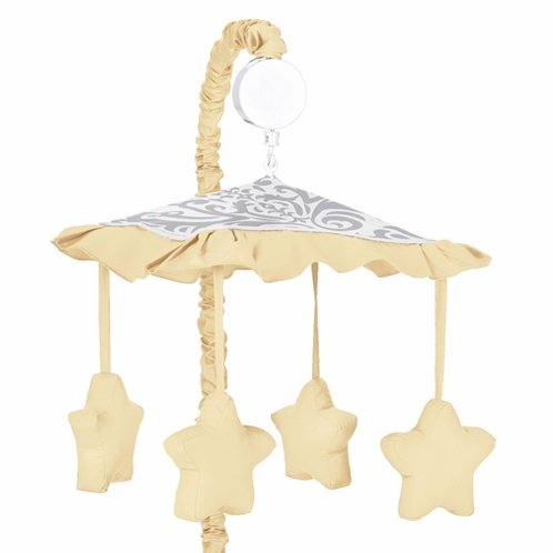 Yellow and Gray Avery Musical Baby Crib Mobile by Sweet Jojo Designs - Click to enlarge