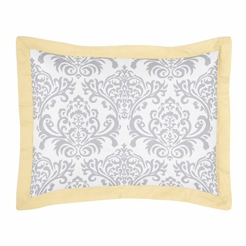 Yellow and Gray Avery Pillow Sham by Sweet Jojo Designs - Click to enlarge