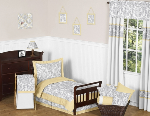 Yellow and Gray Avery Toddler Bedding - 5pc Set by Sweet Jojo Designs - Click to enlarge