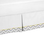 Yellow and Gray Chevron Zig Zag Bed Skirt for Toddler Bedding Sets by Sweet Jojo Designs