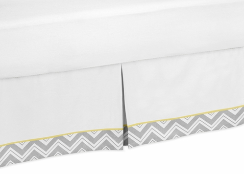 Yellow and Gray Chevron Zig Zag Bed Skirt for Toddler Bedding Sets by Sweet Jojo Designs - Click to enlarge