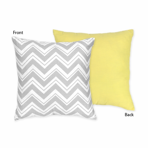 Yellow and Gray Chevron Zig Zag Decorative Accent Throw Pillow by Sweet Jojo Designs - Click to enlarge