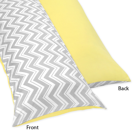 Yellow and Gray Chevron Zig Zag Full Length Double Zippered Body Pillow Case Cover by Sweet Jojo Designs - Click to enlarge