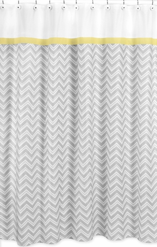 Yellow And Gray Chevron Zig Zag Kids Bathroom Fabric Bath Shower Curtain By Sweet Jojo Designs