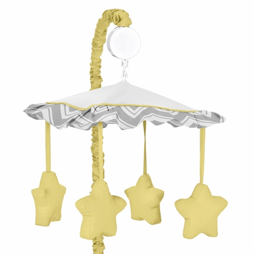 Yellow and Gray Chevron Zig Zag Musical Baby Crib Mobile by Sweet Jojo Designs - Click to enlarge