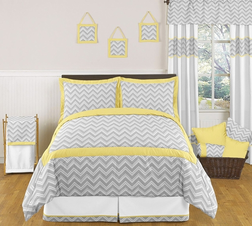 yellow and gray chevron zig zag childrens kids teen bedding 3pc full queen set by sweet. Black Bedroom Furniture Sets. Home Design Ideas