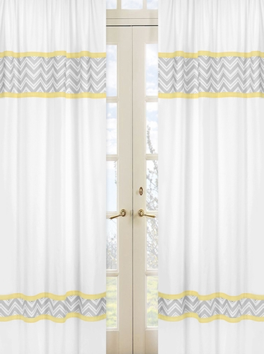 Yellow and Gray Chevron Zig Zag Window Treatment Panels by Sweet Jojo Designs - Set of 2 - Click to enlarge