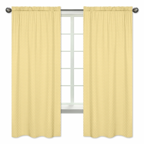 Yellow Honeycomb Window Treatment Panels for Honey Bee Collection by Sweet Jojo Designs - Set of 2 - Click to enlarge