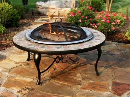 Superieur Asia Direct 40 Inch Copper And Slate Fire Pit Table With Stainless Steel Fire  Bowl