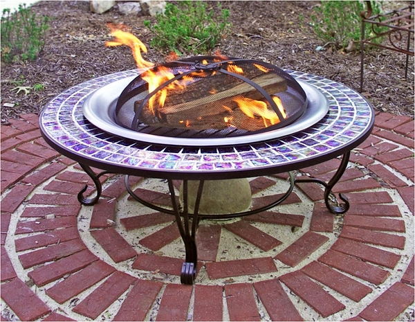 round fire pit table Asia Direct 40 Inch Round Glass Mosaic Fire Pit Table round fire pit table