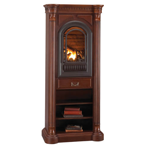 Athens Corner Tower Mantel With Arched Ventless Fireplace Natural Gas