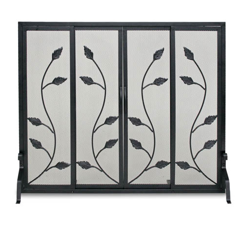 Black Flat Garden Vine Fireplace Screen With Sliding Doors