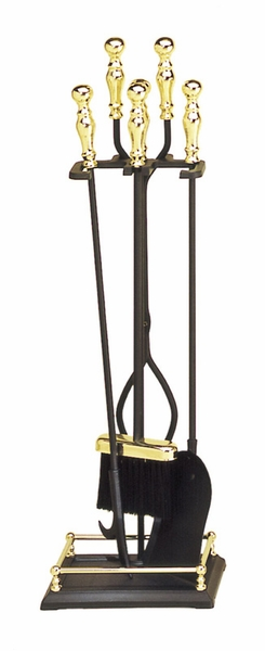 Brass And Black Wrought Iron 4 Piece Fireplace And Hearth Tool Set