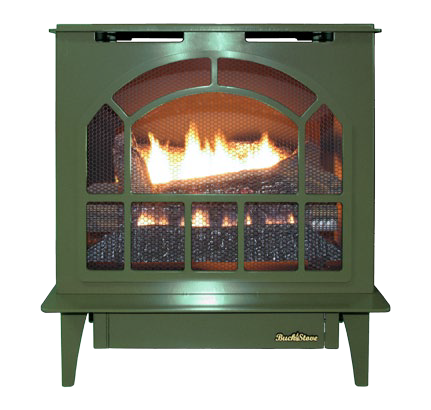 Buck Stove Hepplewhite Vent-Free Steel Gas Stove - Green - Propane The Buck Stove Hepplewhite Vent-Free Steel Gas Stove comes with a unique finish and admirable specifications. Those include a maximum BTU output of 30