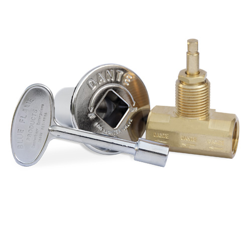 Globe Gas Valve, Key and Floor Plate Kit - Straight - Chrome Finish