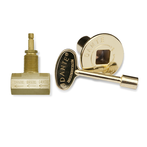 Key and Floor Plate Kit - Straight - Polished Brass Finish